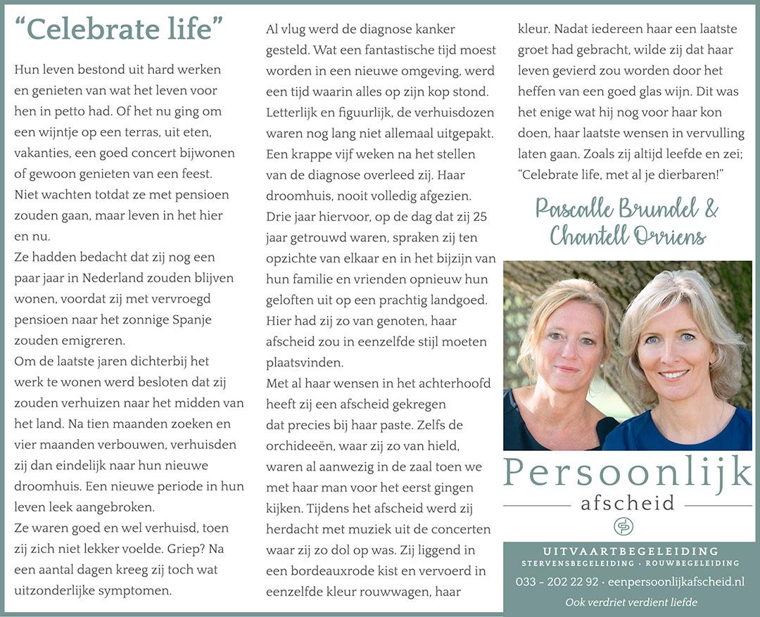 Column: Celebrate Life - Persoonlijk afscheid