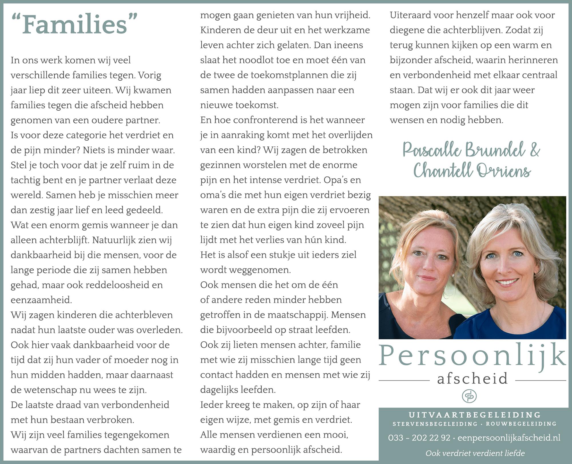 Column: Families - Persoonlijk afscheid